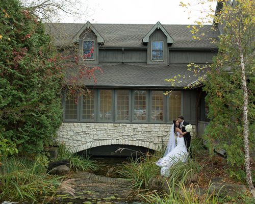Bellamere Winery London Ontario Wedding Venue Orchard Best Wedding Venue London's Ideal Wedding Venue Romantic Newlyweds Love Rustic Wedding Venue Barn Wedding Venue Rustic Wedding Ceremony Waterfall Pond
