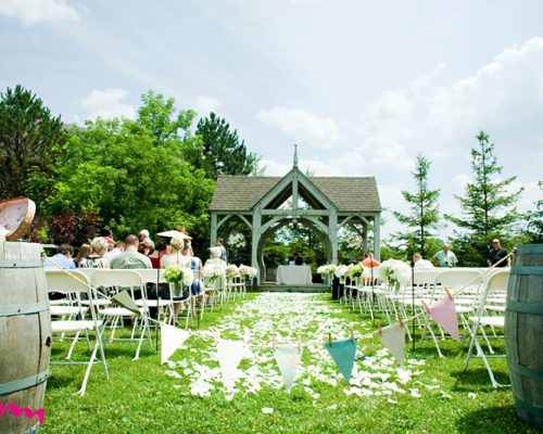 Bellamere Winery London Ontario Wedding Venue Gazebo Ceremony Outdoor Ceremony Wine Barrels Barn Wedding I Do HRM Photography