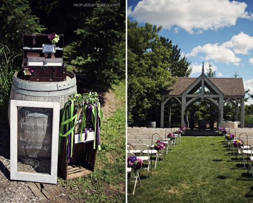 Bellamere Winery London Ontario Wedding Venue Gazebo Ceremony Rustic Decor Vintage Decor outdoor ceremony Shepard hooks romantic rustic decor