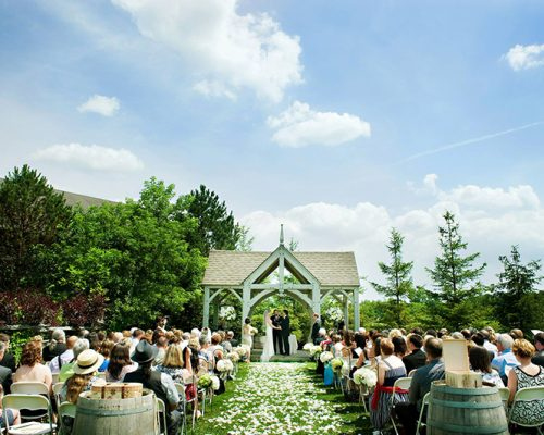 Bellamere Winery London Ontario Wedding Venue Gazebo Ceremony flower pedals wine barrels rustic theme rustic decor vintage romantic I DO