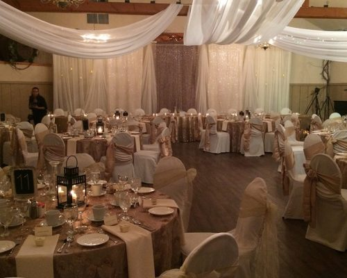 Bellamere Winery London Ontario Wedding Venue Winter Wedding Backdrop Romantic Setting Drapping