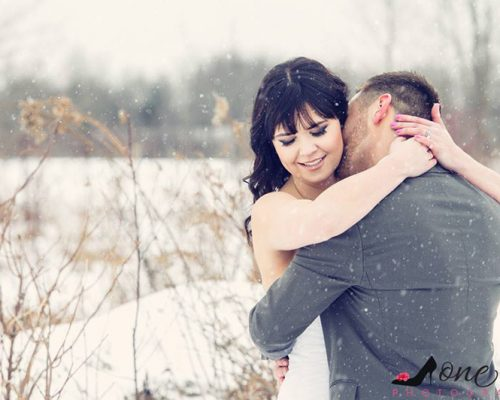 Bellamere Winery London Ontario Wedding Venue One-12 Photography Winter Wedding Snow First Kiss Love Rustic Wedding Venue Barn Wedding Venue