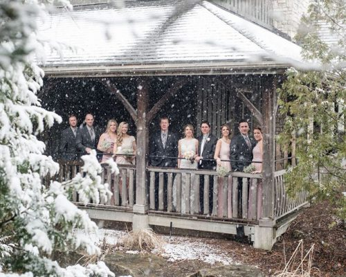 Bellamere Winery London Ontario Wedding Venue Winter Wedding Snow Rustic Wedding Venue Barn Wedding Romantic Just Married Wedding Party Photos