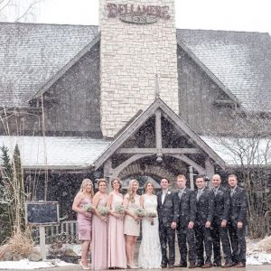 Bellamere Winery London Ontario Wedding Venue Winter Wedding Wedding Party Photo Snow Barn Wedding Winery Wedding