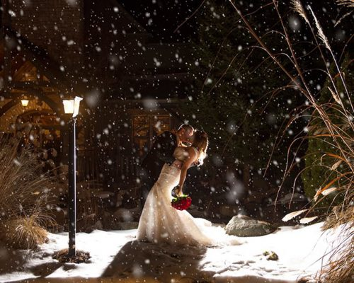 Bellamere Winery London Ontario Wedding Venue Winter Wedding Snow First Kiss Rustic Barn Wedding