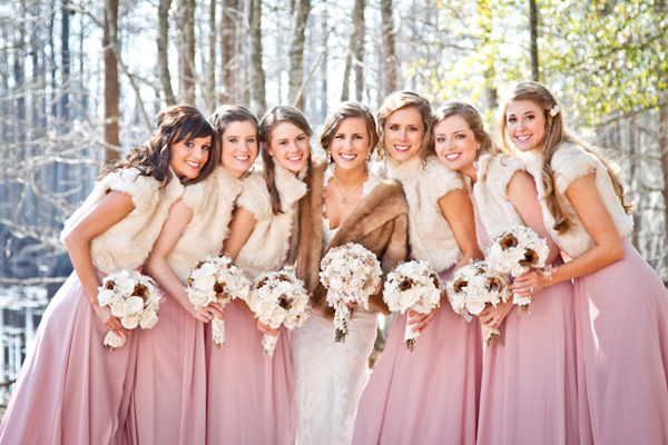 winter-wedding-pink-bridesmaid-dresses