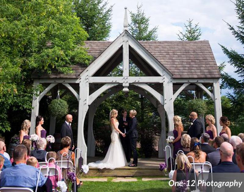 Bellamere Halls London Ontario Wedding Venue, Same Sex Wedding, Gay and Lesbian Wedding, Rustic Gazebo, outdoor ceremony