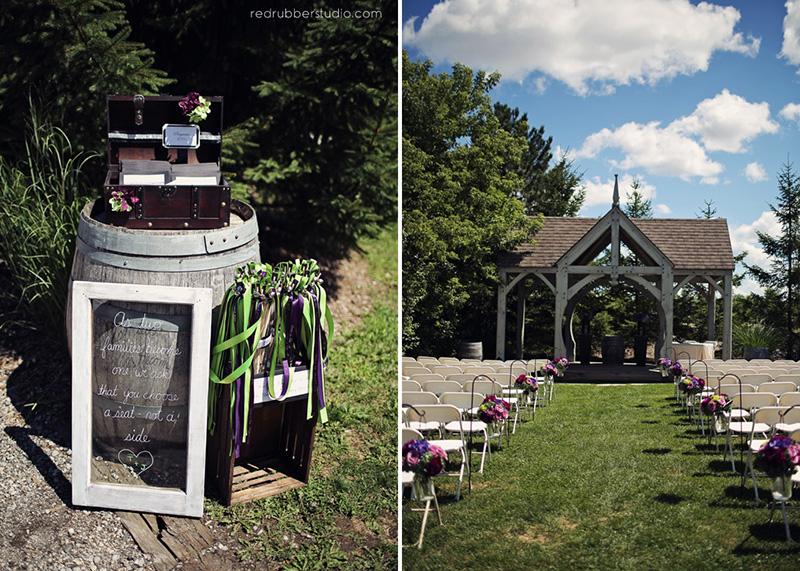 Bellamere Winery London Ontario Wedding Venue Gazebo Ceremony Rustic Decor Vintage Decor outdoor ceremony Shepard hooks romantic rustic decor