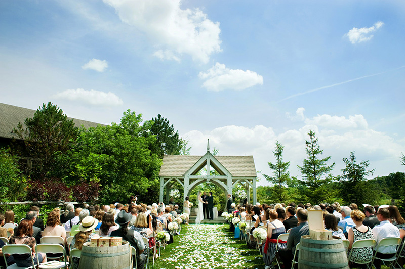 Bellamere Winery London Ontario Wedding Venue Gazebo Ceremony I DO Wine Barrels