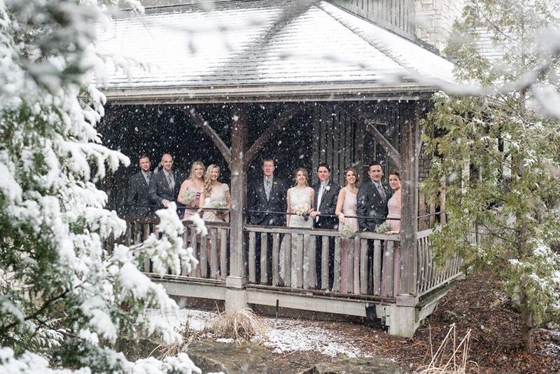 Bellamere Winery London Ontario Wedding Venue Winter Wedding Snow Rustic Wedding Venue Barn Wedding Romantic Just Married Wedding Party Photos