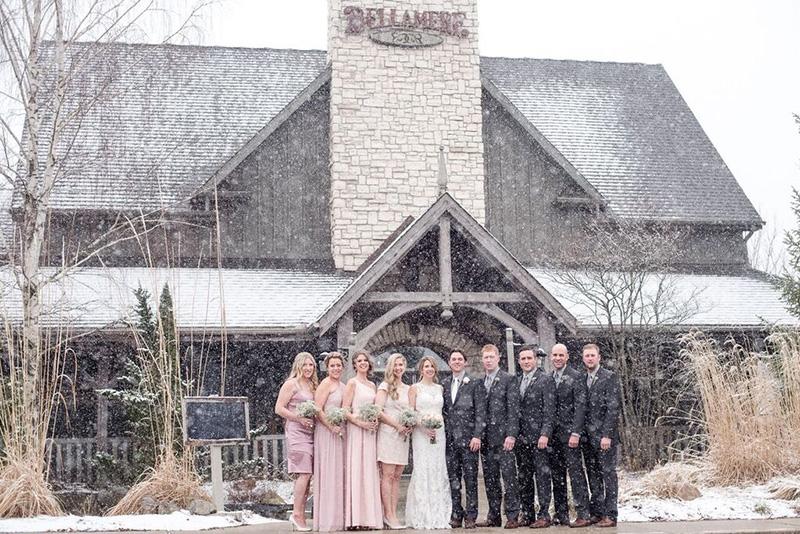 Bellamere Winery London Ontario Wedding Venue Winter Wedding Wedding Party Photo Snow Barn Wedding Winery Wedding