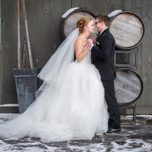 Bellamere Winery London Ontario Wedding Venue One-12 Photography Wine Barrels Rustic Wedding Venue Snow Just Married Love