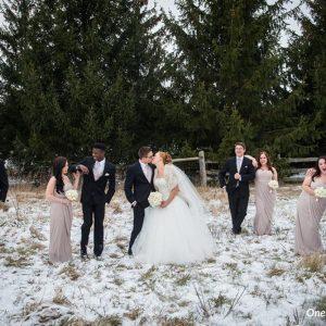 Bellamere Winery London Ontario Wedding Venue One-12 Photography Wedding Party Photos Winter Wedding First Kiss Rustic Wedding Venue Barn Wedding