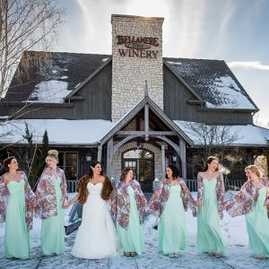 Bellamere Winery London Ontario Wedding Venue Winter Wedding Wedding Party Photos Teal Snow Barn Wedding Rustic Wedding