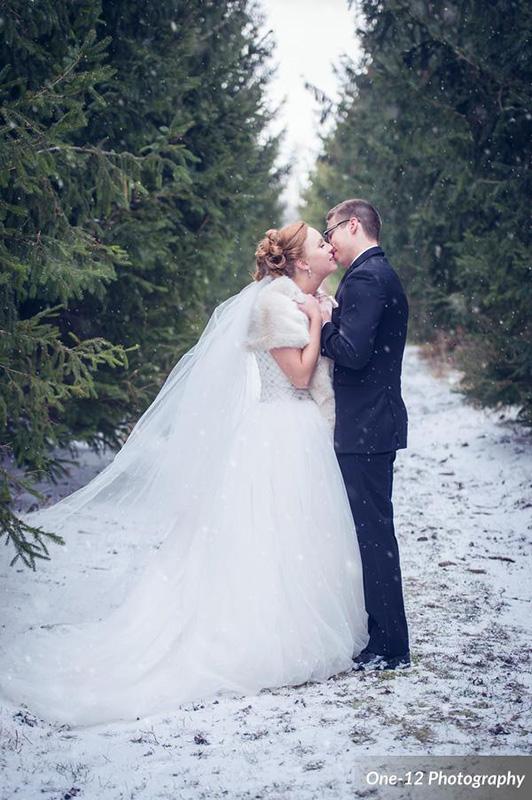 Bellamere Winery London Ontario Wedding Venue One-12 Photography Winter Wedding Rustic Wedding Venue Romantic First Kiss Newlyweds