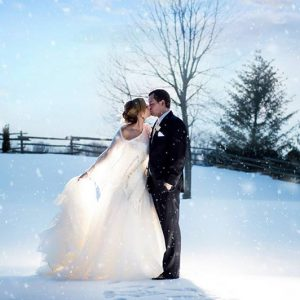Bellamere Winery London Ontario Wedding Venue Winter Wedding First Kiss Winery Wedding Romantic Snow Wedding Photography London's Ideal Wedding Venue