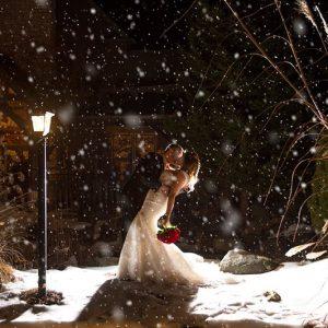 Bellamere Winery London Ontario Wedding Venue Winter Wedding Snow First Kiss Rustic Barn Wedding