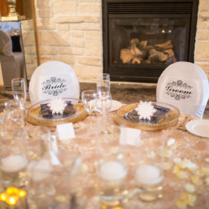 Blue Gold Head Table Fireplace Destination London Winery Wedding