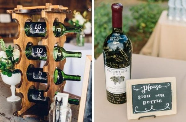 on the left wine bottles are used as table numbers. To the right as a guest books with guests signing the bottle.